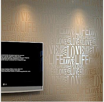 Flock Words Textured Letters wallpaper Embossed wall paper wall covering WA59259