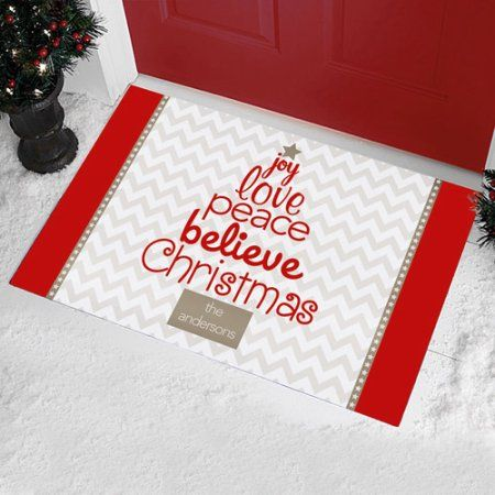 tree of christmas doormat white
