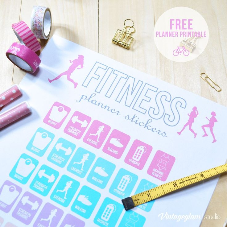 Firtness Planner Stickers Printable | Free for personal use only.