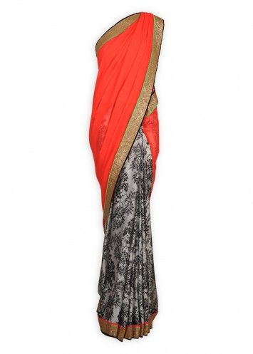 Neon Pink Sari with Printed Pleats