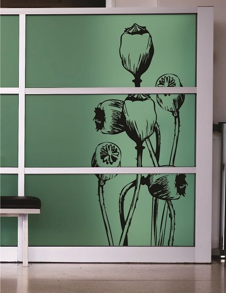 Black vinyl on Translucent vinyl on glass #icut #icutvinyl #flower #translucentvinyl #glass #capetown