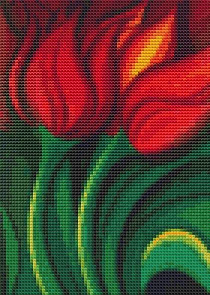 Mini Cross Stitch KIT - Tulips