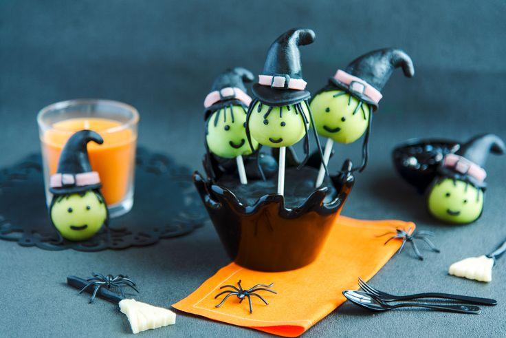 Goûter d'Halloween: Pop cakes sorcières en pâte à sucre Vahiné