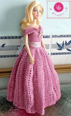 crochet barbie princess gown, free pattern.