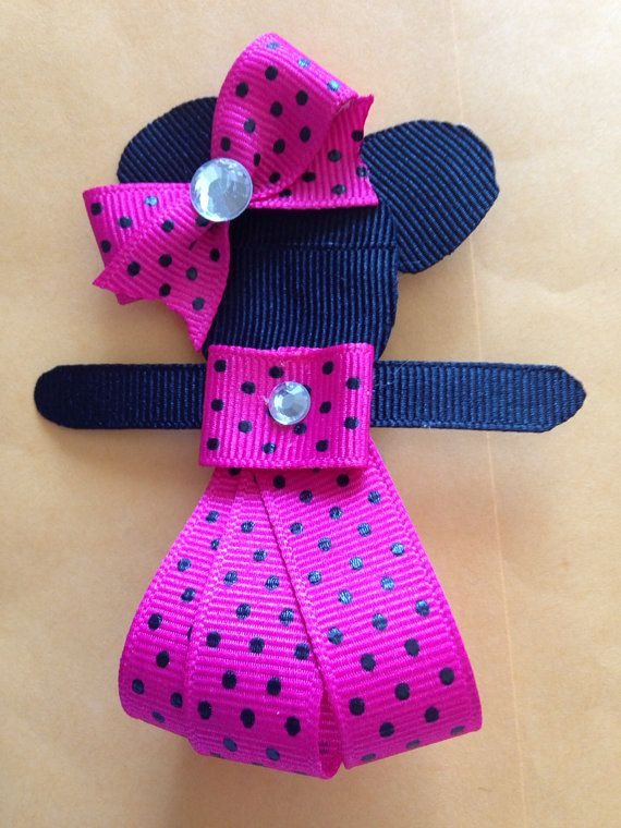 Minnie Mouse inspired hair clip by Bowsanddesigns on Etsy, $5.00  https://www.etsy.com/listing/199004942/minnie-mouse-inspired-hair-clip?