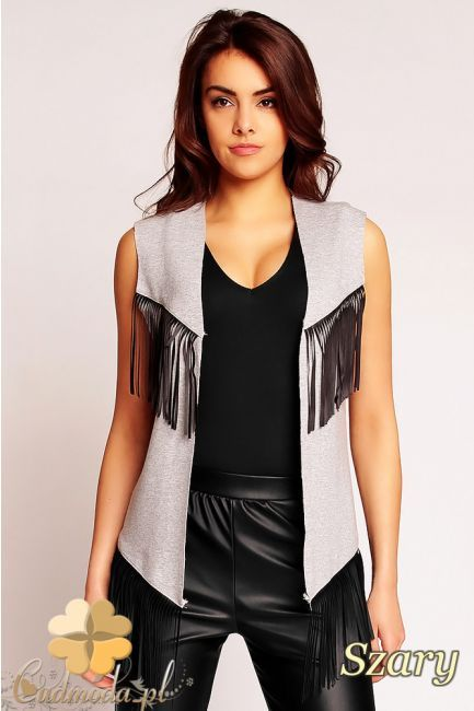 Asymetryczna kamizelka z frędzlami marki Nommo.  #cudmoda #moda #ubrania #kamizelki #clothes #odzież