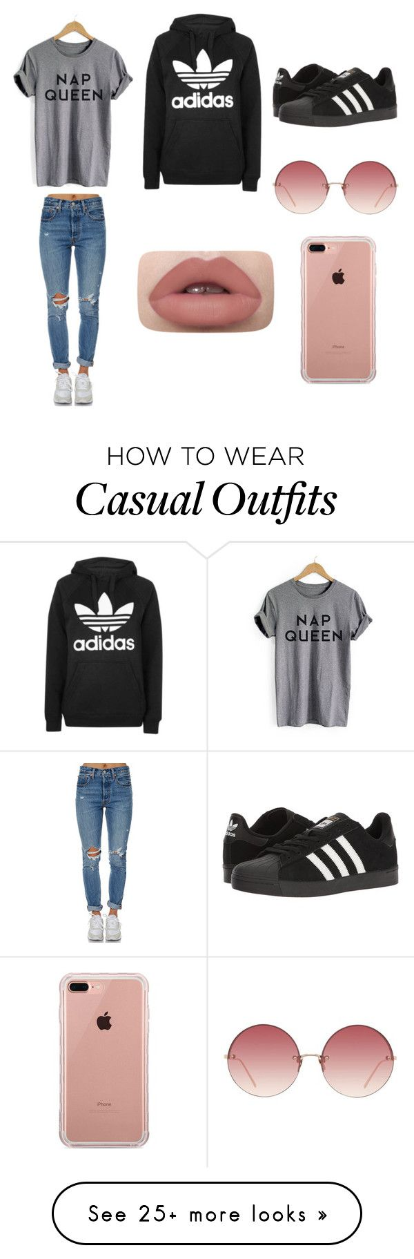 """Casual in style"" by maya-0113 on Polyvore featuring Topshop, Levi's, adidas, Linda Farrow and Belkin"