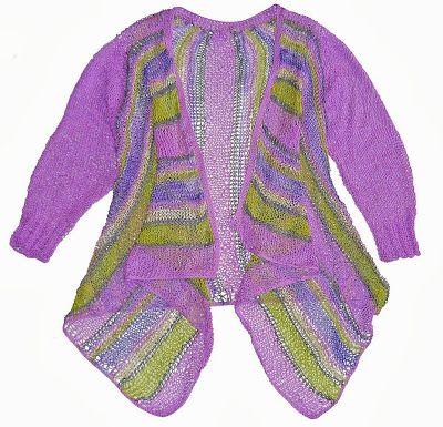 Chaleco tejido en dos agujas en hilo Textil Amazonas (colores malva, verde, violeta matizado, gris y blanco ostra) , Talla M