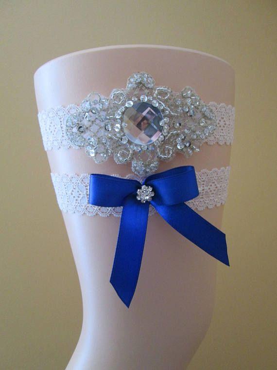 Royal Blue Wedding Garter Set Something Blue Garter w/ Blue