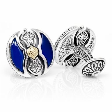 Konstantino Sterling and 18k Gold Blue Agate Labrys Axe Cufflinks