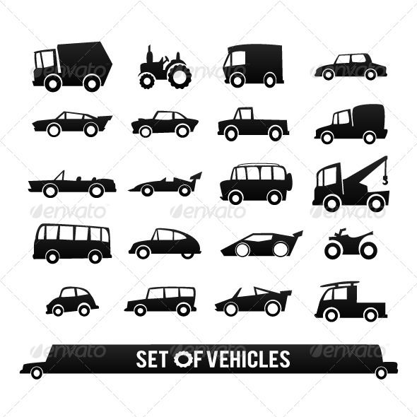 Set of Vehicles. Cars Icons Set. Transport Icons. - Miscellaneous Characters