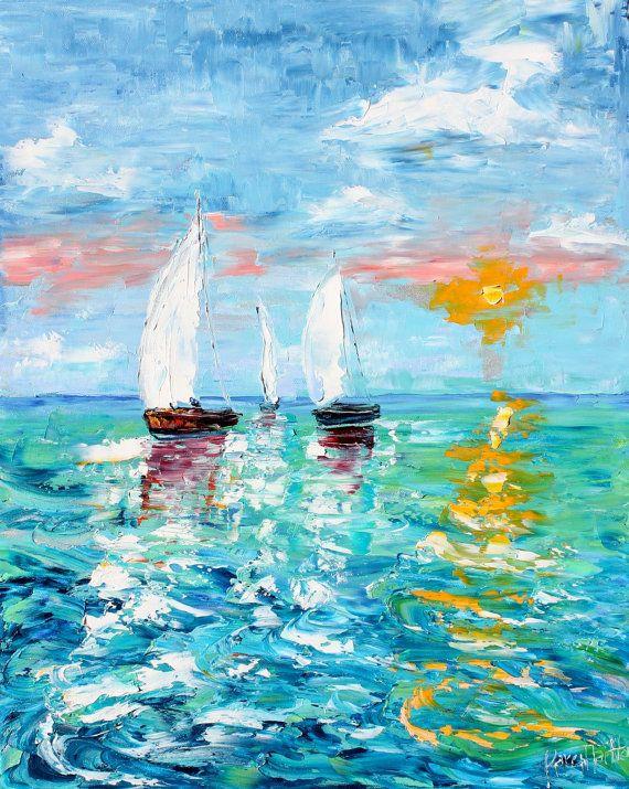 Original oil painting Sail Boats at Sunrise Palette knife modern impressionism impasto fine art by Karen Tarlton