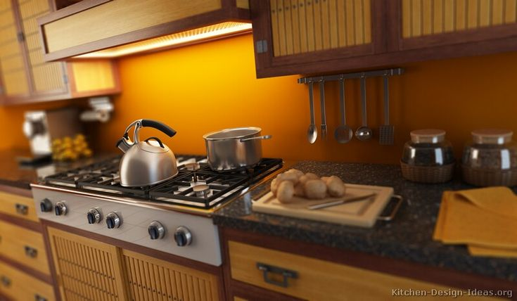 View in gallery Elegant Asian Kitchen design with stylish modern cabinets
