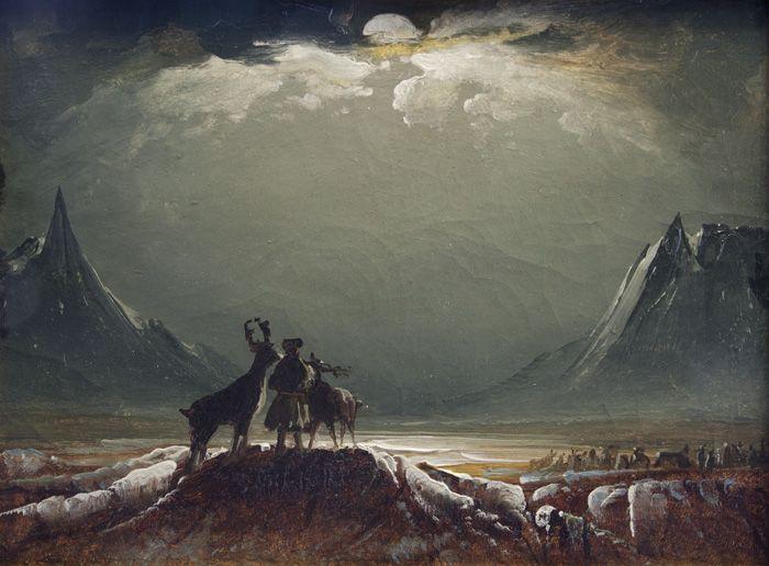 Peder Balke  Sami with Reindeer under the Midnight Sun about 1850. Northern Norway Art Museum, photo Maria Dorothea Schrattenholz