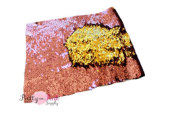 Pink Rose/Gold Changeable Sequin Fabric Sheet-Sequin Fabric