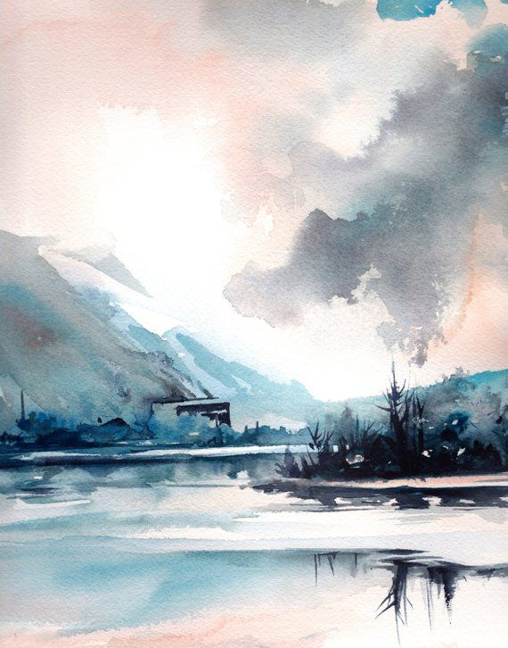 Modern Landscape Art Print Nature Watercolor Painting Abstract