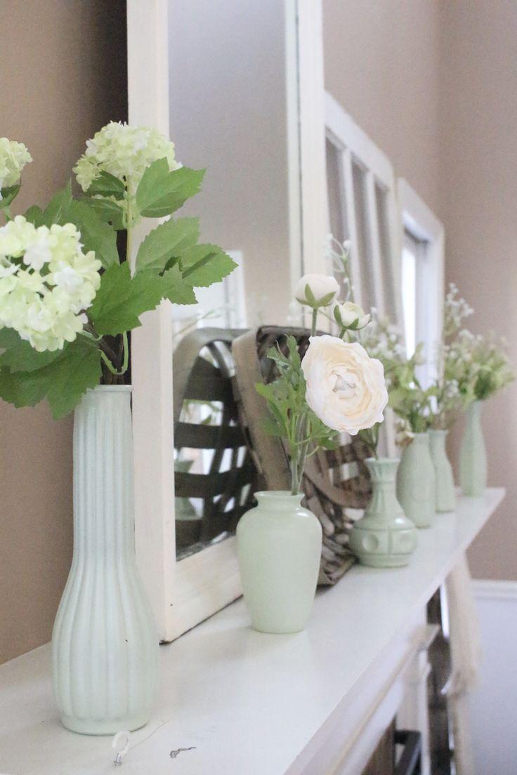 spring mantel, decorate your mantel series, decor, decorating, milk glass spray paint, milk glass vases, ideas for spring decorating, mantel ideas, spring, mantle