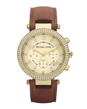 Michael Kors Mid-Size Parker Chronograph Glitz Watch, Golden.Birthday Presents, Leather Michael Kors Watch, Mid Siz Parker, Leather Watches, Chronograph, Kors Mid Siz, Kors Watches, Michael Kors Watch Leather, Glitz Watches