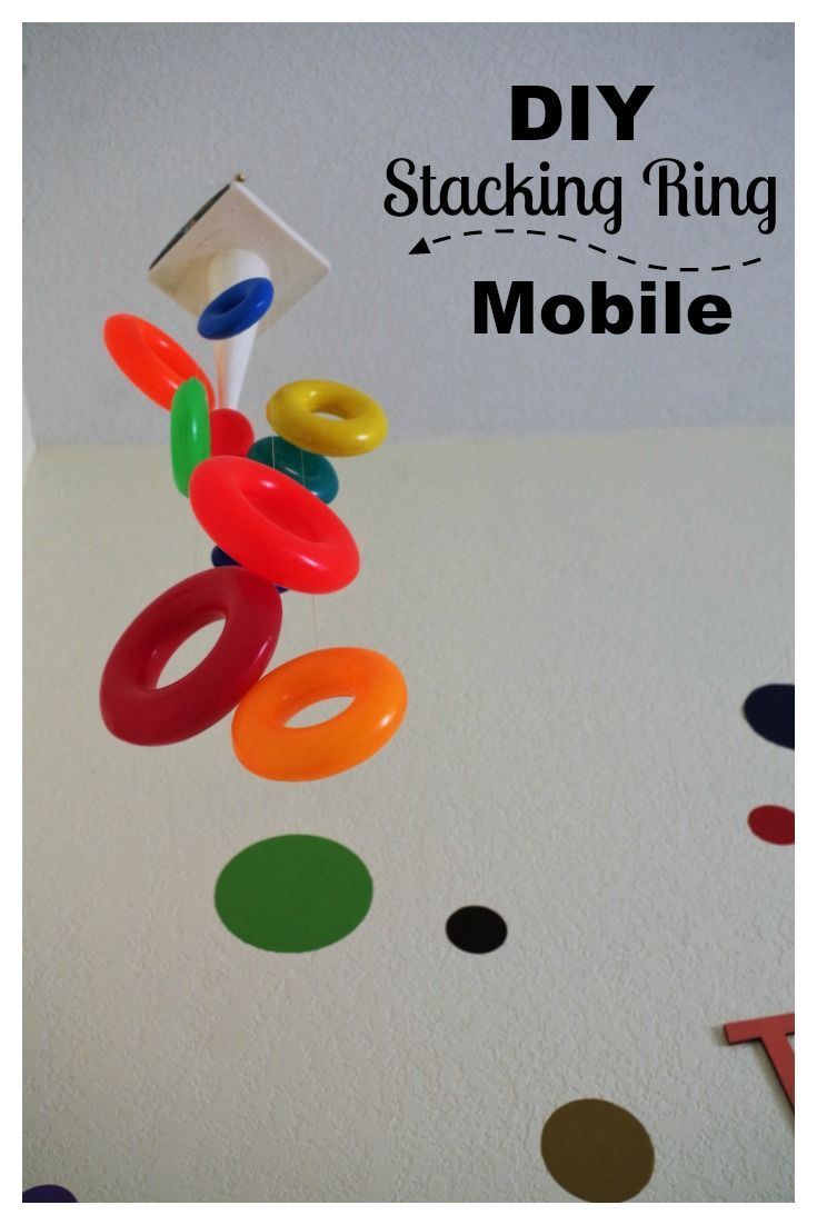 Make a mobile from kids stacking ring toy pinterest playroom make a mobile from kids stacking ring toy pinterest playroom decor diy toys and repurpose solutioingenieria Images