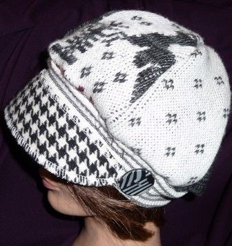 Jax Hats Black and white recycled sweater hat with hounds tooth brim #millinery #judithm #upcycle
