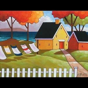 12x16 Sea Cottage Original Modern Folk Art Landscape Abstract Painting Horvath   eBay