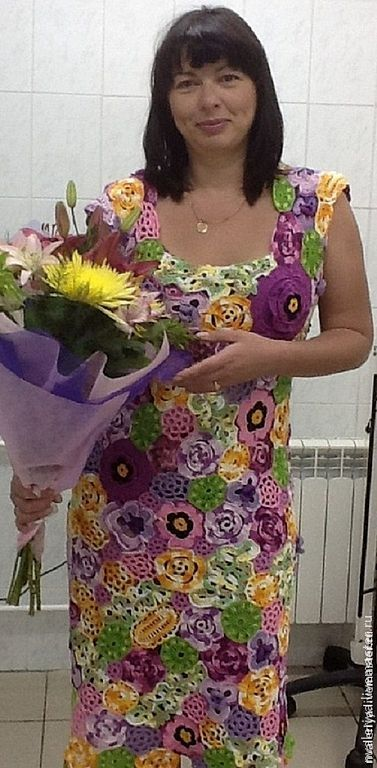 """Купить Платье- х.б. """"Цветочная поляна"""" - цветочный, яркий букет, летняя одежда, стильный"""