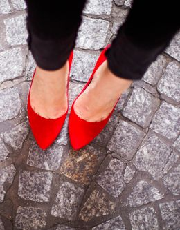 :: classic red almond toe pumps::