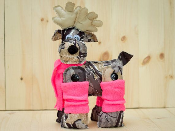 Christmas Decorations - Camo Stuffed Reindeer with pink ...