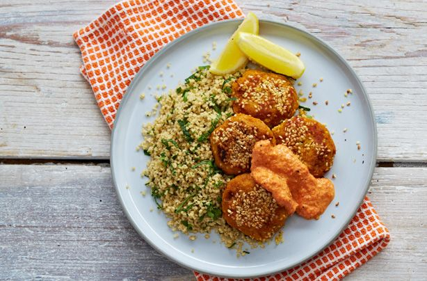 Falafel with herby couscous and pepper sauce