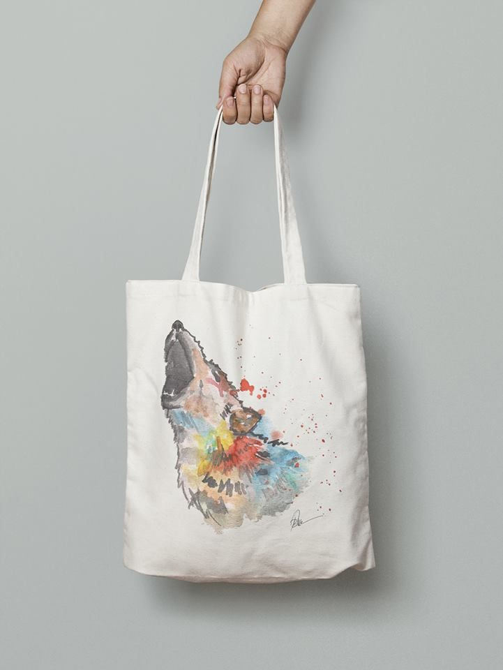 Wolf handmade eco friendly bag- watercolor printed
