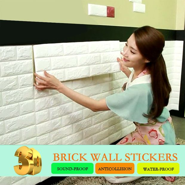 4Pcs 3D Elasticity Brick Grain Wallpaper Wall Stickers DIY Anti-collision Sound Insulation Self-adhesion Decal