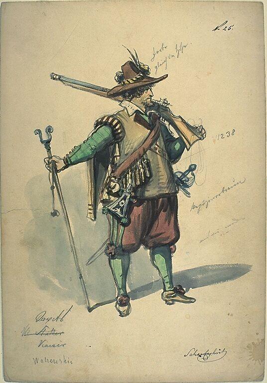 Kostümentwurf für die Figur eines Scharfschützen aus 'Wallenstein' von Friedrich von Schiller | Franz Gaul | Bildindex der Kunst & Architektur