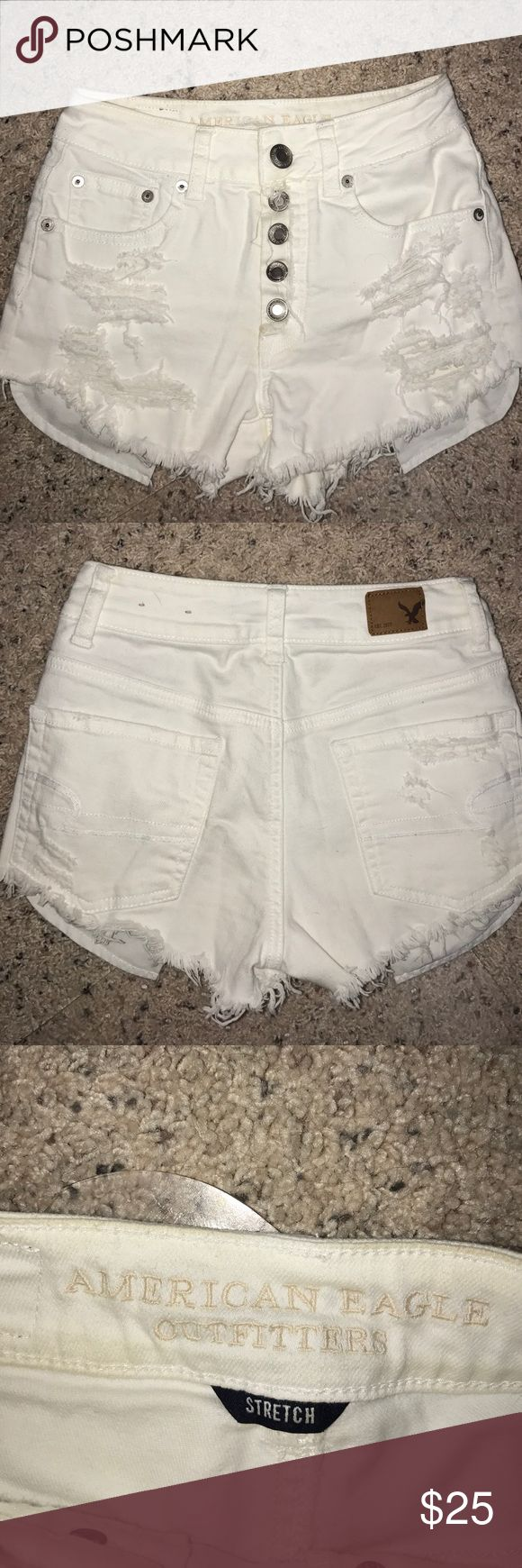 American eagle high-rise distressed shorts Like new American Eagle high-rise distressed shorts button front American Eagle Outfitters Shorts Jean Shorts