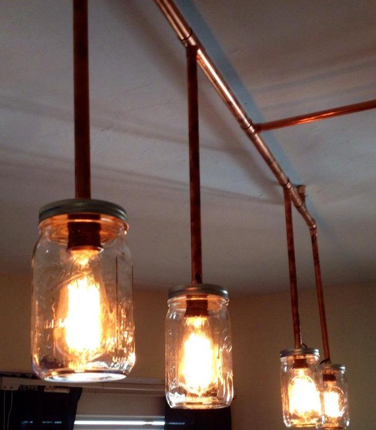 Rustic Industrial Lighting Chandelier Mason Jar Chandelier: Copper Vintage Rustic Industrial Chandelier Light. Copper