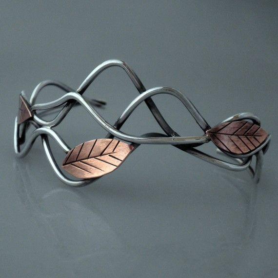 Leaf Cuff Bracelet Mixed Metal by MetalworksJewelry on Etsy: