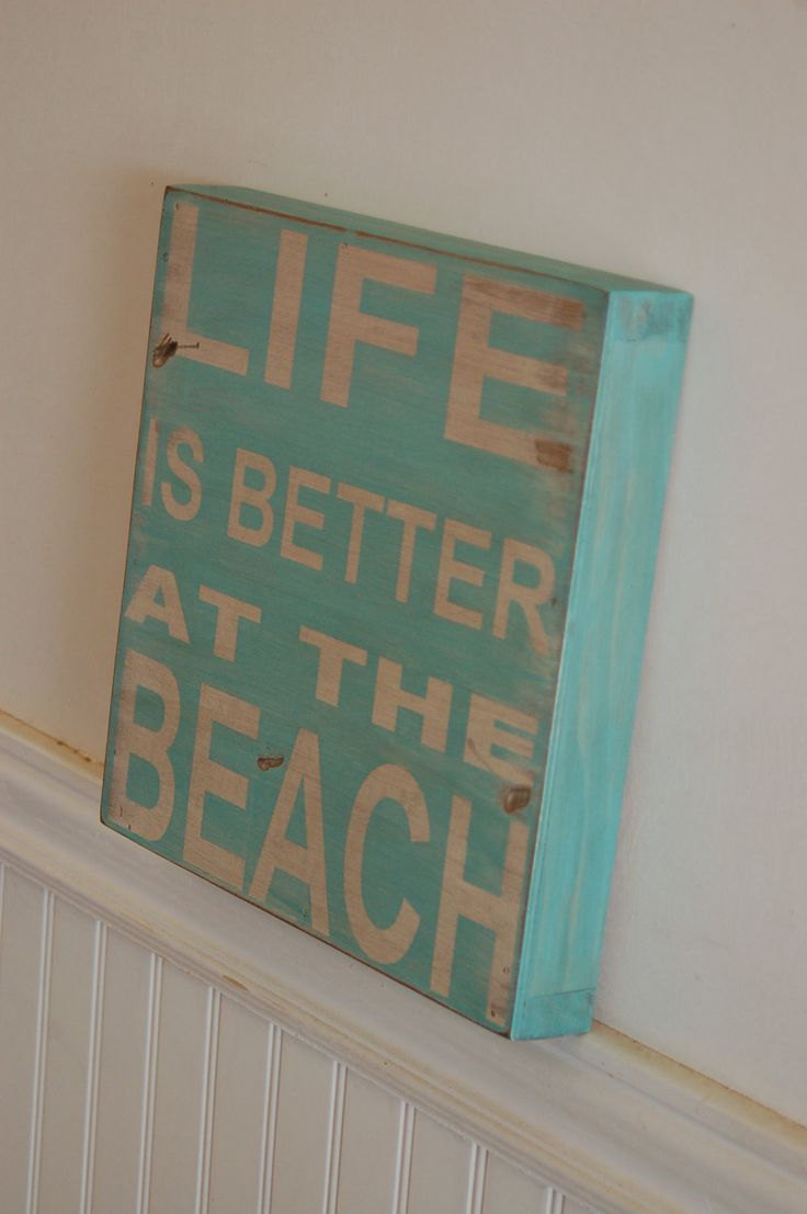 Life is better at the beach wood sign - distressed - great piece for your vacation home, beach house, summer decor. $28.00, via Etsy.