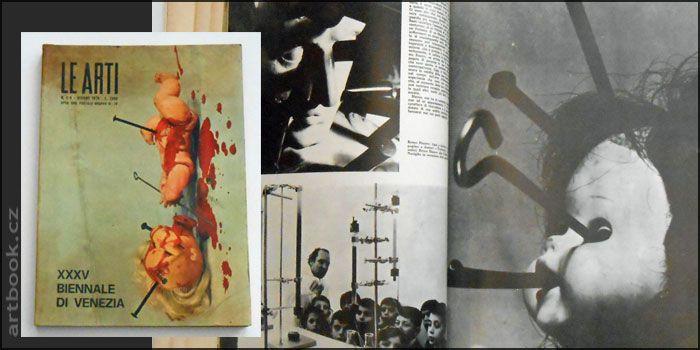 XXXV Biennale di Venezia - LE ARTI. Giugno 1970 - Anno XX - n.5/6.   296 s., množství barevných a čb. fotografií, dobová reklama. Pův. brož. 340x240   Dvojčíslo italského uměleckého magazínu, které se v první části (s. 2-74) věnuje 35. Bienále v Benátkách. Představuje jednotlivé osobnosti z Itálie (Battaglia, Bonalumi, Carrino, Lombardo, Mochetti, Paolini, Verna) 12 národních expozic (Rakousko, Belgie, Kanada, Československo, Finsko, Západní Německo, An