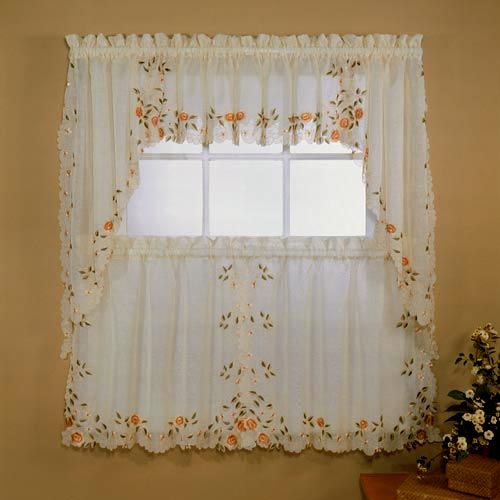 3pc Beige Yellow Sunflower And Butterfly Kitchen Cafe: Kitchen Curtains, Layered Curtains And Tier Curtains