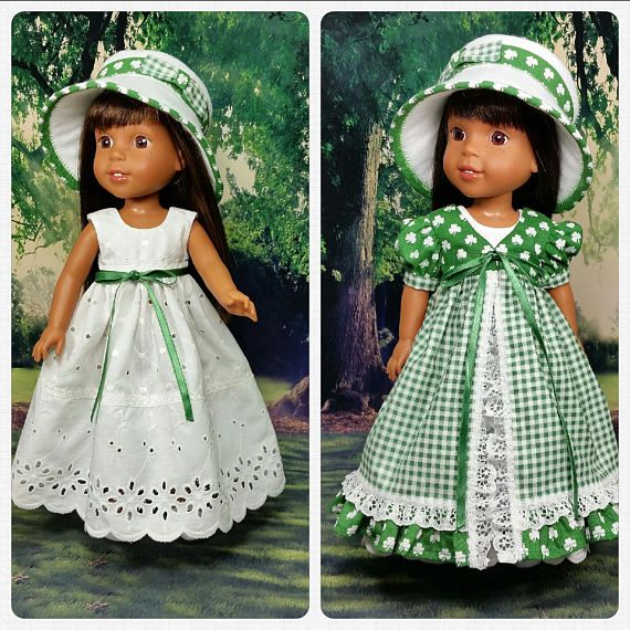 "St Patrick/'s Day Outfit fits 14.5/"" American Girl Wellie Wishers Doll Clothes"
