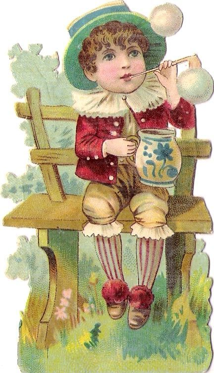 Oblaten Glanzbild scrap die cut chromo Kind child enfant Seifenblasen bubbling