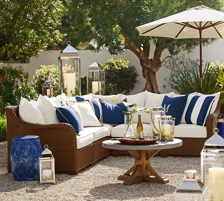 Traditional Patio With Fence, Extra Large Malta Lantern, Pottery Barn  Palmetto All Weather Wicker Sectional