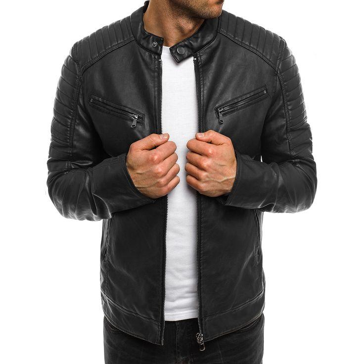 Veste imitation cuir noir homme