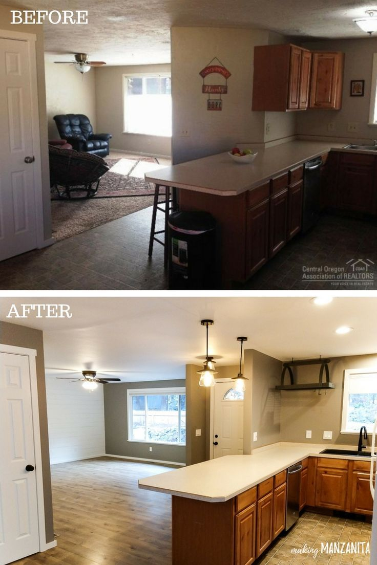 Our First Fixer Upper Before And After Home Renovations Picture Tour Open Concept Kitchen Living Room Small Open Concept Kitchen Living Room Open Concept Home