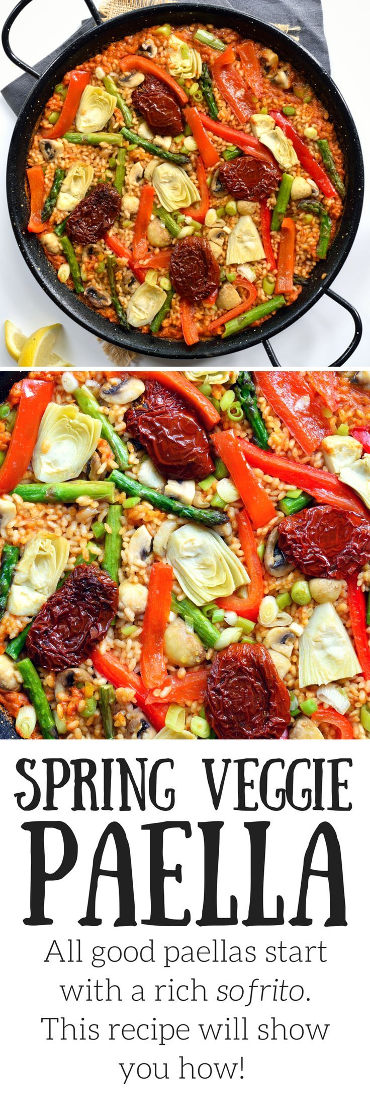 The Spanish rice dish paella is veganized with fresh spring vegetables simmered in a rich, flavourful sauce.