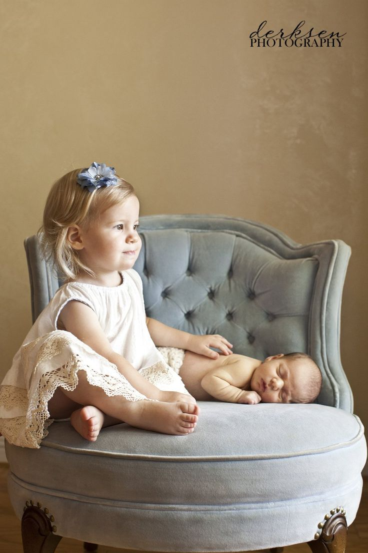 Great sibling pose when older sis isn't old enough to hold the baby very well.