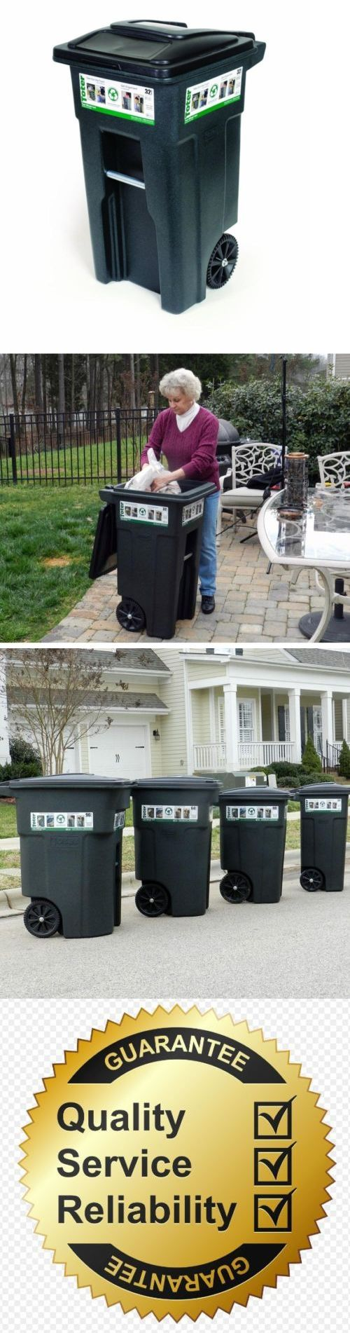 Trash Cans and Wastebaskets 20608: Outdoor Garbage Can Trash Bin 32 Gallon Wheeled Heavy Duty Waste Container Lid -> BUY IT NOW ONLY: $68.99 on eBay!