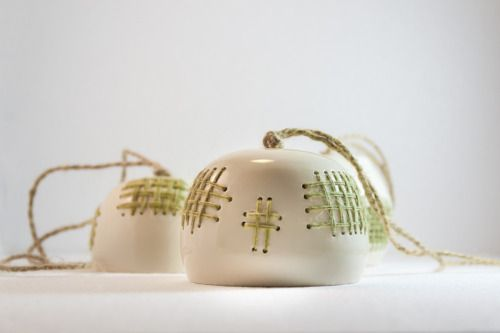 """SOLD """"empty cage"""" ceramic decoration with delicate green wool threads"""