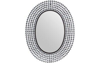 ESPEJO NEGRO CON CRISTALES. Espejo decorativo ovalado metálico con cristales