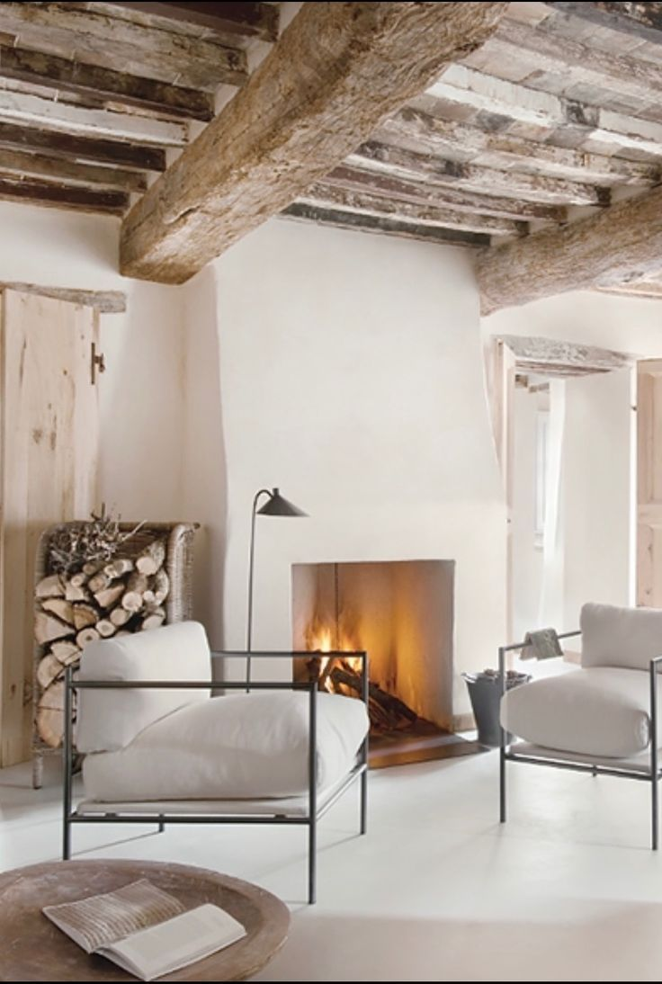 Modern Cozy Living Room With Plastered Fireplace Rustic Living