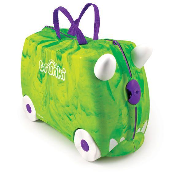 Trunki / Rex  TRUNKI ER EN KUFFERT PÅ HJUL – DESIGNET TIL BØRN PÅ FARTEN  Børnene kan pakke deres Trunki med alt deres yndlings legetøj, køre på den, sidde på den, trække den eller blive trukket af deres forældre. www.farmorsoutlet.dk